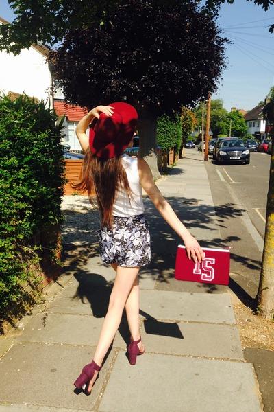 ruby red floppy hat asos hat - slogan Topshop bag