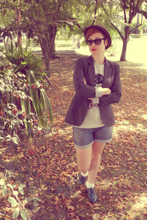 blazer - shoes - hat - shorts - sunglasses - t-shirt