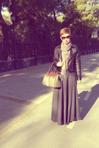 jacket - boots - scarf - bag - cat eye sunglasses - skirt