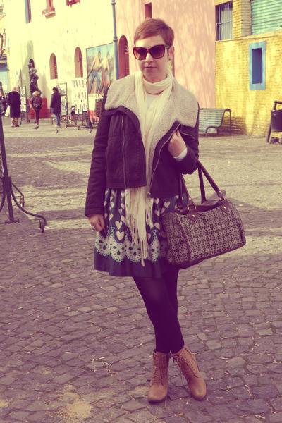 jacket - boots - tights - scarf - bag - skirt