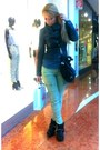 Black-h-m-boots-gray-jacket-gray-avon-scarf-black-versace-bag