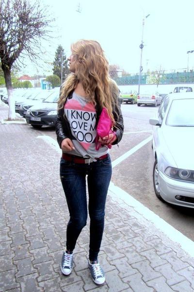 silver Bershka t-shirt - navy Miss Sixty jeans - black Superstar jacket
