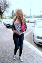 silver Bershka t-shirt - navy Miss Sixty jeans - black Superstar jacket