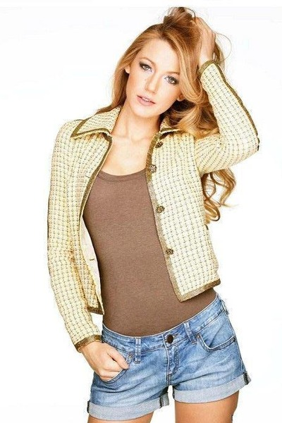 camel cotton coat - navy jean shorts shorts - dark brown cotton top