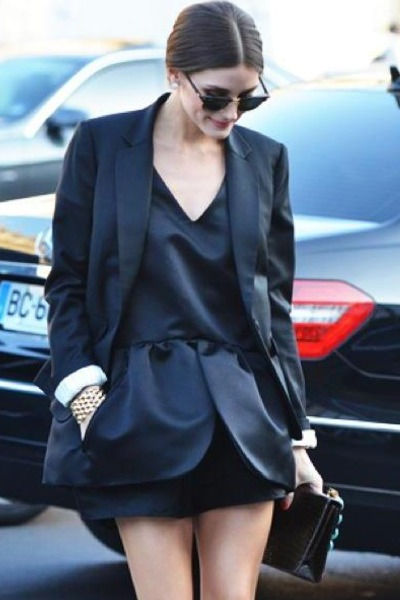 black dress - black blazer - black bag