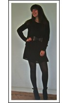 black Primark dress - black cotton Zara coat - black tights - black elastic belt