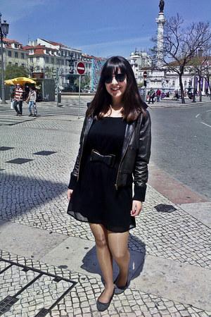 black Primark dress - gray Marypaz shoes - black red code coat
