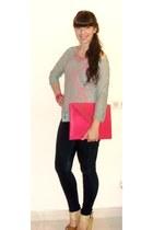 hot pink Zara necklace - Bershka jeans - tan Parfois sandals