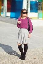 BLANCO skirt - Zara boots - H&M cardigan