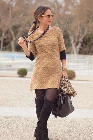 Zara boots - Zara dress - hawkers sunglasses - Maramz ring