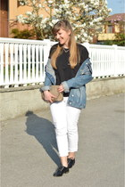 blue denim jacket Zara jacket - white ripped Zara jeans