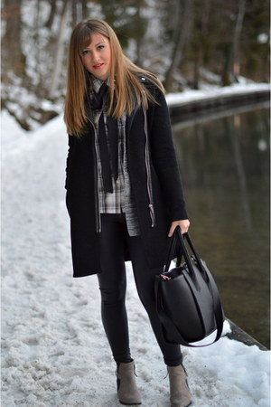 gray H&M blazer - camel Zara boots - black Tally Weijl coat