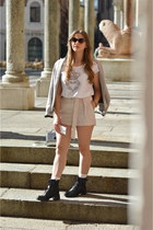 black biker boots - silver Terranova bag - neutral H&M shorts