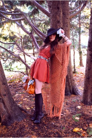 orange Topshop dress - 70s H&M hat - shawl H&M cape