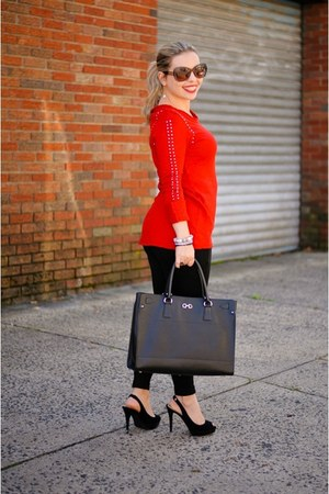 ruby red studded Zara sweater - black Salvatore Ferragamo bag
