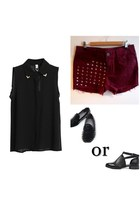 black the quiet riot shoes - black romwe shirt - brick red Knutsy shorts