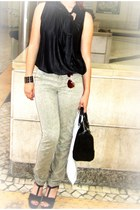 black Mango bag - black moms blouse - off white BLANCO pants