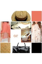 tan straw hat Seaside hat - eggshell chiffon Bershka shirt - black Mango bag