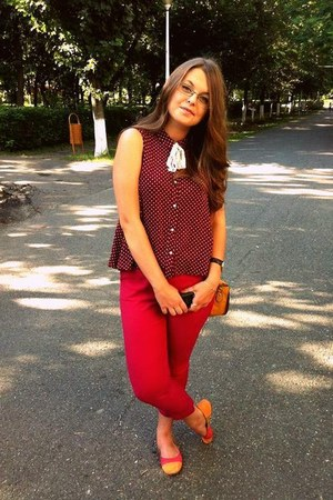orange purse - ruby red River Island blouse - hot pink Topshop pants - watch
