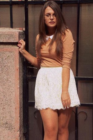 lace white Topshop skirt - blouse - studded pink Bershka flats