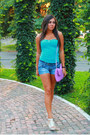 Amethyst-chic-bag-skinny-shorts-terranova-shorts-aquamarine-terranova-top