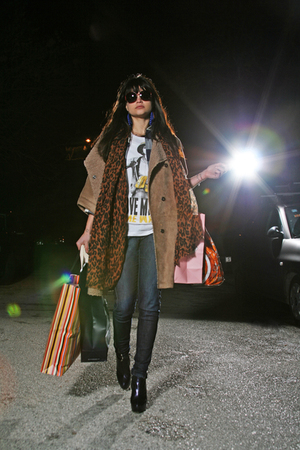 Zara coat - ihateu t-shirt - Louis Vuitton scarf - Miss Sixty pants - H&amp;M earrin