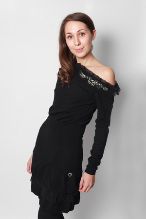 black bare shoulder silvian heach dress