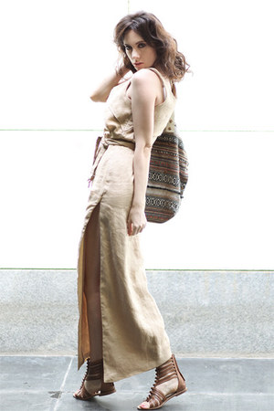 camel linen Let them stare dress