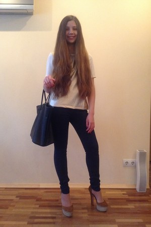 Top Secret blouse - Zara shoes - dark blue Zara jeans - black Zara bag