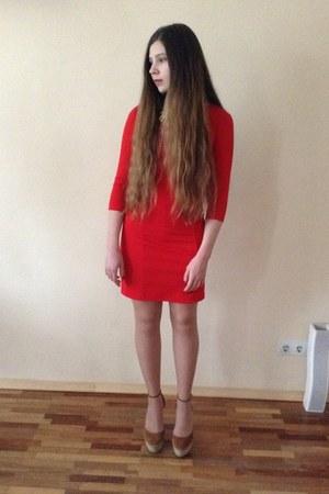 red Incity dress - brown Zara shoes - white Promod jacket