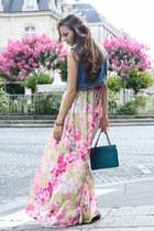 bubble gum H&M dress - teal Chanel bag - sky blue Topshop vest