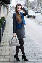 blue SANDRO jacket - gray SANDRO dress - heather gray balenciaga bag