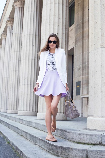 white Sheinside skirt - light purple SANDRO jacket