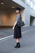 black Louis Vuitton boots - black H&M hat - navy MaxMara blazer