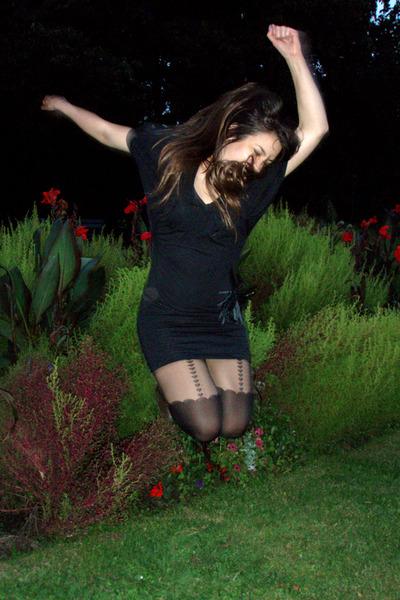 black dress - black asos stockings - black belt