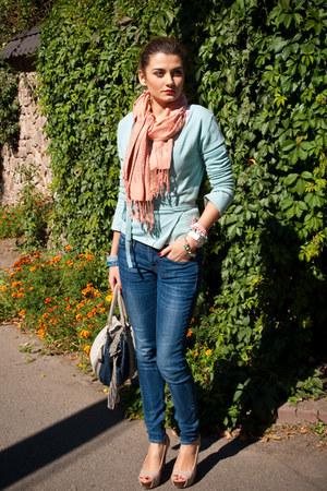 blue Levis jeans - peach Zara scarf - navy Parfois bag
