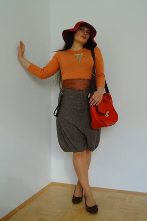 carrot orange vintage shirt - tawny Bershka belt