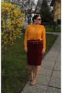 Light-orange-zara-blouse-crimson-pencil-skirt-zara-skirt