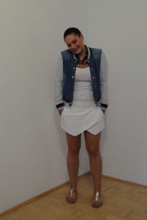 white skort Zara shorts - navy colledge style Tally Weijl jacket