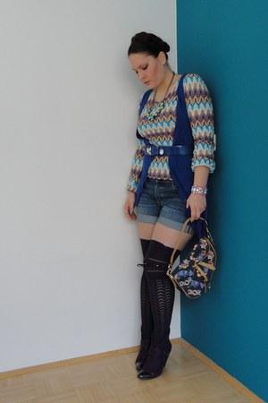 Missoni shirt - navy denim dior bag - denim H&M shorts