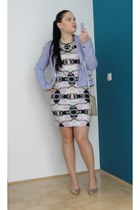 floral H&M dress - light purple ruffles H&M blazer - gold H&M heels