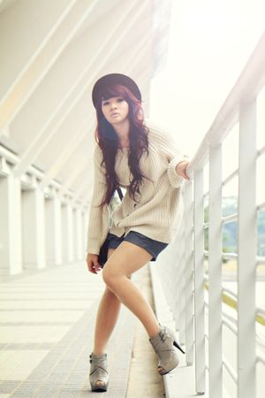 gray ankle boots new look shoes - gray shorts - beige sweater