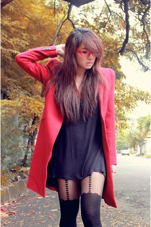Ulin Custom Shoes shoes - shoulder pad Zara blazer - suspender Topshop tights -