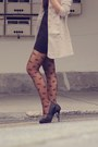 Pumps-new-look-shoes-one-shoulder-dress-nude-blazer-leafs-tights