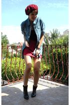 red vintage hat - black New Yorker top - blue etam shirt - red pull&bear skirt -