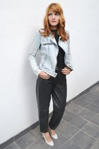 black leather thrifted pants - periwinkle jeans Zara jacket