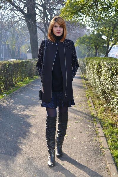 navy asos skirt - black warehouse coat