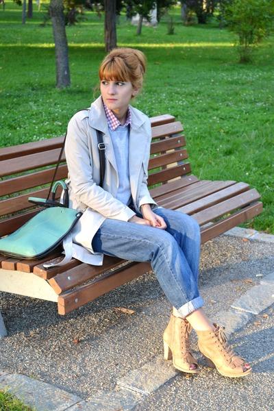 red H&M shirt - camel Office boots - navy boyfriend Miss Selfridge jeans