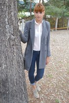 heather gray H&M coat - camel calvin klein shoes - navy Gap jeans