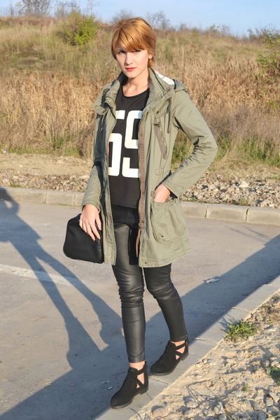 black asos boots - dark khaki H&M jacket - black H&M leggings
